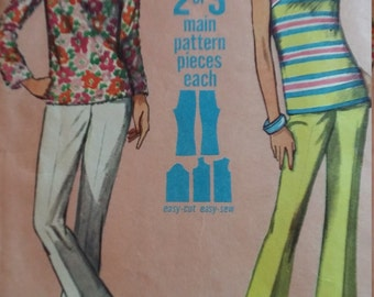 Vintage Simplicity Sewing Pattern Size 12 Jiffy Overblouse and Bell Bottom Pants