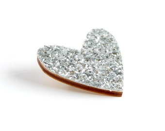 Silver Glitter Heart Pin, Glitter Heart Brooch, Wooden Love Heart Brooch Pin, Valentines Pin
