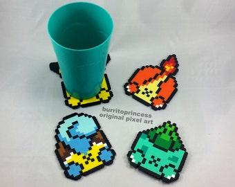 Pokemon Coasters - Pokemon Butt Coasters - Pikachu Coaster - Squirtle Coaster - Charmander Coaster - Bulbasaur Coaster - Nerdy Kitchen Decor
