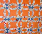 Vintage 1930s 40s Double Wedding Ring Quilt, Hand Quilted, Glorious Orange, Spring Chic
