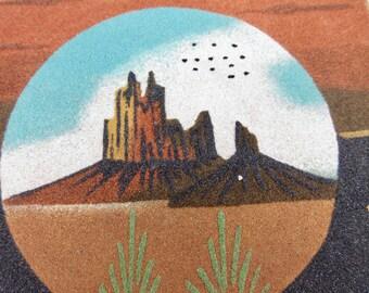 Vintage Native American Sand Painting, Southwest Mesa, Teec Nos Pos, Arizona