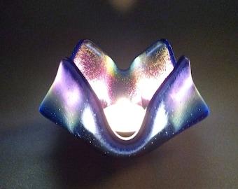 Blue Iridescent Fused Glass Candle Holder - Handkerchief Glass Drape - Glass Candle Holder - Tea Light Holder - Glass Art, Housewarming Gift