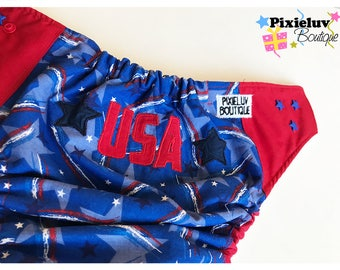 4th of July USA One Size Cloth Diaper, Pocket Diaper (Photoshoot)