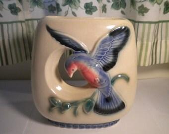 Vintage Mid Century  Royal Copley double vase with bluebird
