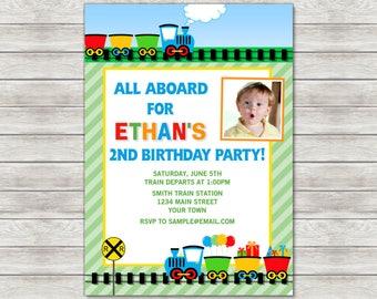 Train Birthday Invitation, Train Birthday Party Invite - Printable File or Printed Invitations