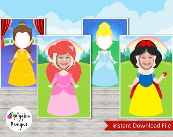 Disney Princess Photo Booth Props (includes Belle, Ariel, Cinderella and Snow White) - Digital Files