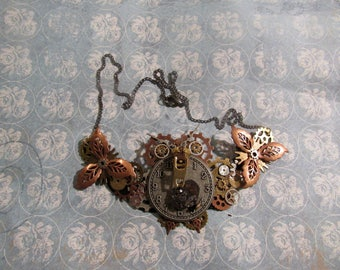 Steampunk Owl Statement Necklace