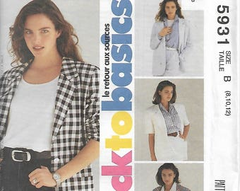Vintage Easy McCall's 5931 Size 8-10-12 back to basics Misses' Unlined Jacket Sewing Pattern 1992 Uncut