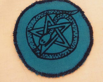 Irish pagan snake pentacle wiccan witchcraft patch