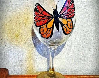 Hand painted beautiful butterfly wine glass