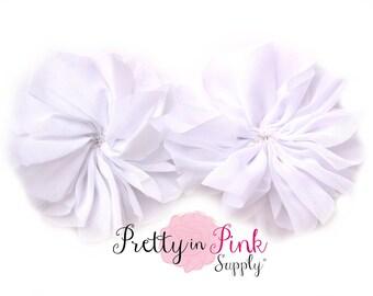 White Large Double Ruffle Flowers...Chiffon Flower...Chiffon Ruffle Flowers...DIY Headbands...Wholesale