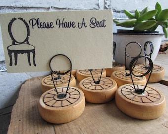 Place Card Holder Vintage Toy Wheel Rustic Wedding Decor
