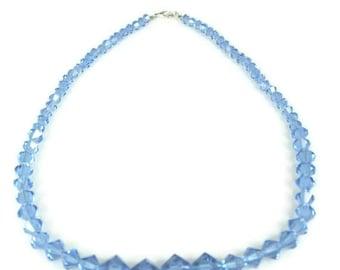 Sale Blue Bicone Crystal Graduated Necklace