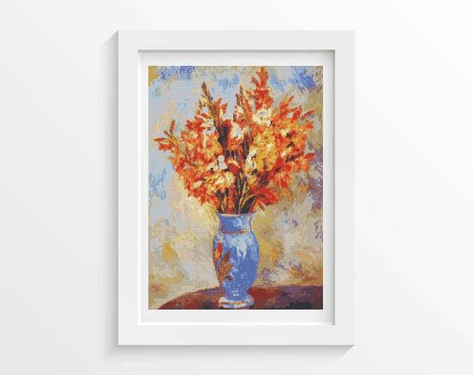 Cross Stitch Pattern PDF, Embroidery Chart, Art Cross Stitch, Floral Cross Stitch, Gladiolis by Pierre-Auguste Renoir (RENOI02)