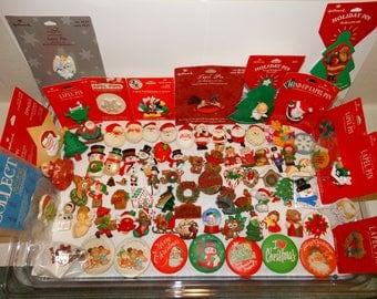 Vintage Hallmark Pins Lot of Christmas Winter Holiday Lapel Pins Brooches CHOICE