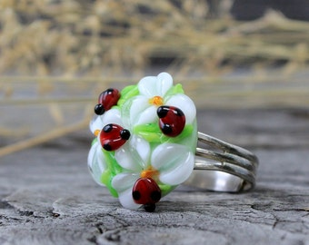 Lampwork Ring, Handmade Lampwork Ring, Lampwork Flower Ring, Lampwork Beads Ring, Flower Ring, Lampwork Beads, Ring Jewelry, Flower Rings
