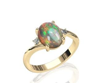 Finely Detailed Australian Opal & Diamond Gold Ring   SKU: R2221