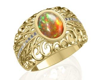 9x7mm Bonafide Australian Black Opal & Diamond Ring in 14K or 18K Gold 1.61TCW SKU: R2411