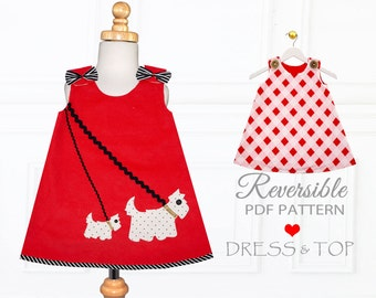 Girls Dress Pattern PDF, Dress Pattern, Childrens Sewing Pattern, Girls Sewing Pattern, Reversible Dress, Beginner Sewing Pattern, SCOTTIE