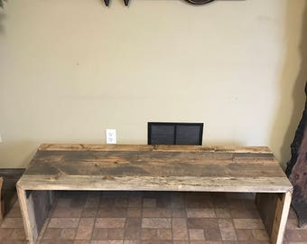 Beautiful 3 Tone Aged Parsons Style Rustic Wooden Bench