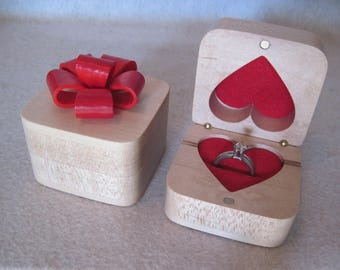 Engagement Ring Box  Maple with Red Bow