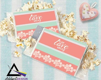 Microwave Popcorn Label Wrapper Mockup, Popcorn mockup, Favor Popcorn party mockup, Yourlogohere popcorns favor, Instant Download, Sale more