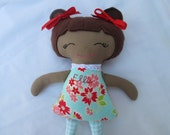 African American Doll, Small 11 inch Doll, READY TO SHIP; Free Personalization; Christmas Toddler or Baby toy