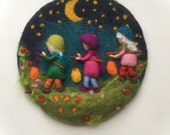 Lantern Walk,Wool painting, Picture,tapestry,Wet felted,Needle Felted. Waldorf,Wall hanging.