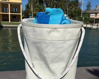 Medium Sail Bucket Bag one-of-a-kind SailAgainBags recycled sail cloth with handle