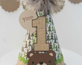 Bear - Woodland Birthday Party Hat -Forest Trees, Burlap, Moss Green and Brown- Personalized