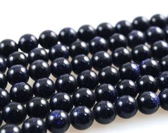 8mm Blue Goldstone Bead Strand-Round Blue Goldstone Beads-Blue Goldstone-8mm Blue Goldstone Beads-Goldstone Bead Strand-Goldstone Beads