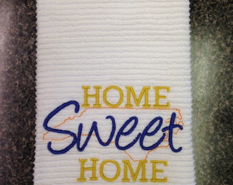 Home Sweet Home North Carolina on kitchen towel