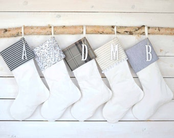 Velvet Christmas Stocking Set - Set of 5 Gray/Ivory Stockings - Family Stockings, Silver Sequin Stocking Set