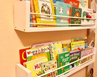 Set of 2 Long Kids Book Shelves - Shelving Organization - Home Decor - Playroom / Nursery