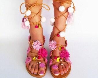 Handmade Leather Sandals, Pink Pom Pom Sandals, Gladiator Sandals ''Sugar Darling''