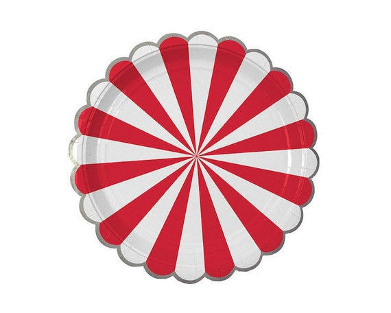 Il_570xn  sc 1 st  Catch My Party & Toot Sweet Red Striped Paper Plates Large Meri Meri Party Decor ...