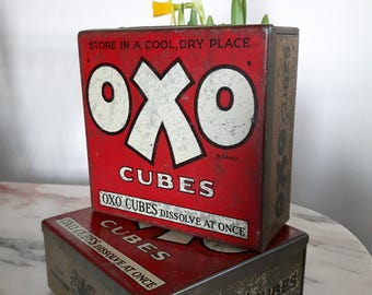 Large square vintage Oxo tins ( two available).