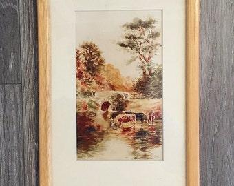 Pastoral Print, Vintage Pastoral Art, English Village Scene, Vintage Landscape,  British Print