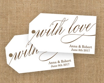 With Love Tag - Wedding Favor Tags - Custom Tags - Bridal Shower Tags - Personalized Tags - Wedding Favor Ideas - Thank You Tags - MEDIUM