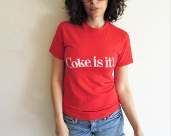 Vintage S/M 80s Red Coca Cola/ Coke Is It Soda Advertising T Shirt
