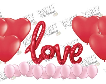 Red Love Balloon Cluster - Red & Pink