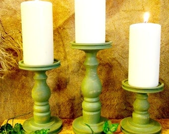 Blanched Thyme Pillar Candle Holder Set of 3 - Lathe turned - Made in USA
