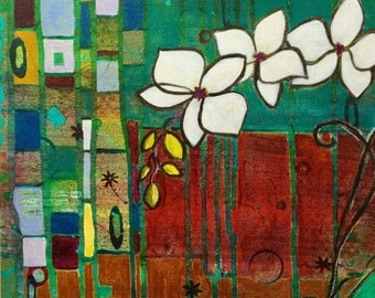 """White orchids, 14"""" x14"""", giclee canvas print, wall art/ white abstract flowers/ art nouveau/klimt/gallery wrapped"""