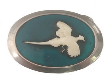 Vintage Turquoise Pheasant Belt Buckle - Bird - Hunting - Silver White - Western Style -  Gift Idea for him or her