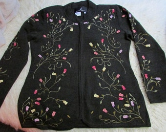 VinTage Embroidered Baby Alpaca/Pima Cotton Zip UP Cardigan Sweater ~ Peruvian Connection
