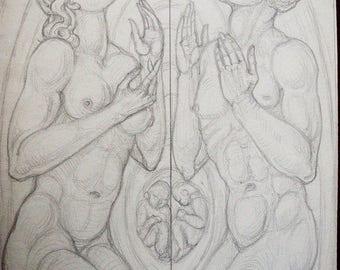 Art Deco Graphite Drawing, Allegorical, Garden of Eden, Adam and Eve,  Religious Art, Church Window, Creation by Heinrich Arad Schmidt