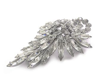 Art Deco Rhinestone Brooch - 1920s Wedding Brooch - Vintage Bride - Bridal - Large Vintage Floral Crystal Brooch - Fine Costume Jewelry