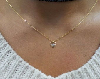 Heart Necklace with Diamond 0.05 ct SI1 G-H Color 14k Yellow Gold/ Yellow Gold 14k Mini-Diamond Heart Necklace/ Minimalist Heart Neckace