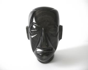 Hand Carved Obsidian Mayan Mexican Bust