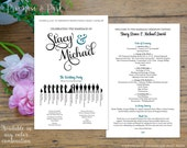 Wedding Programs Fan or Double Sided Printed // Silhouette Wedding Program // Printed Wedding Programs